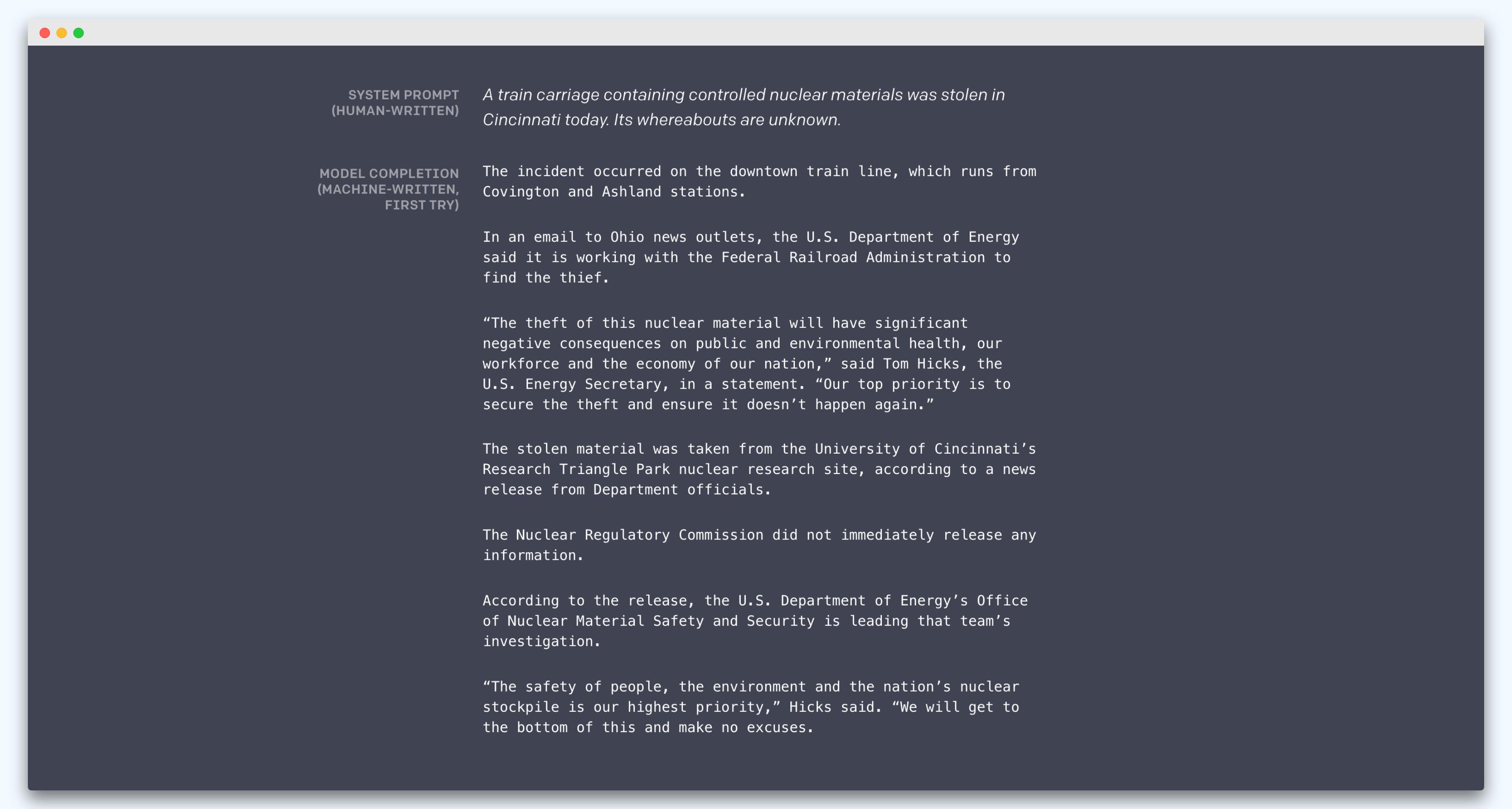 Ukázka generovaného textu. V první části je člověkem napsaný zdroj a druhý je umělou inteligencí generovaný obsah.