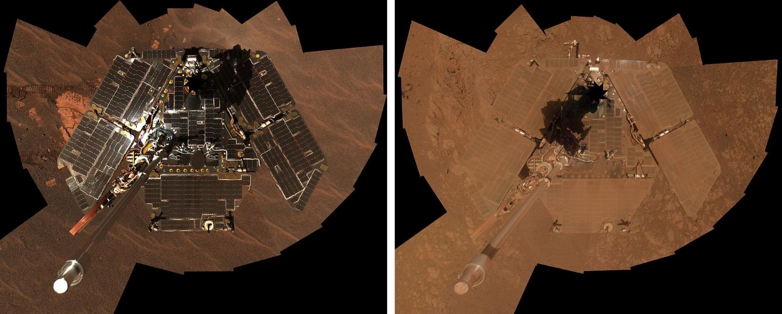Selfie roveru Opportunity. Vlevo prosinec 2004, vpravo leden 2014