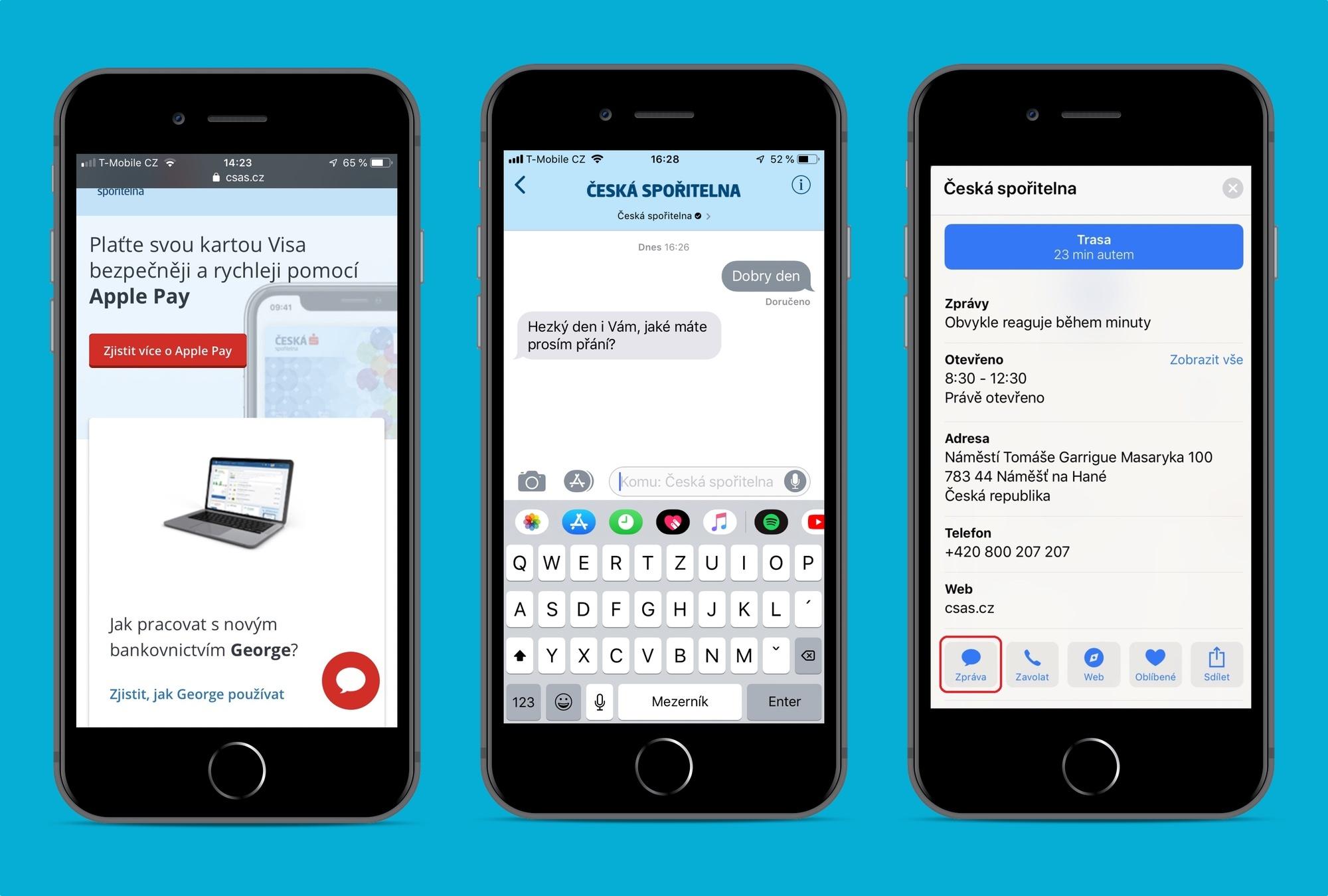 Jednotlivé možnosti zobrazení Apple Business Chatu