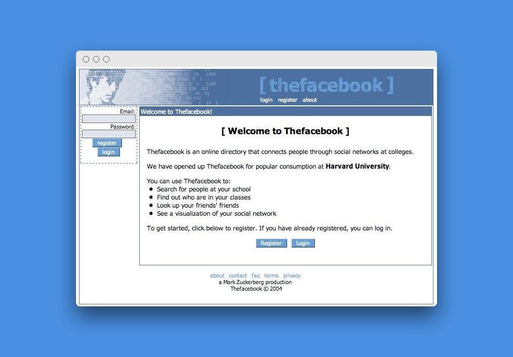 Začátky Facebooku v roce 2004