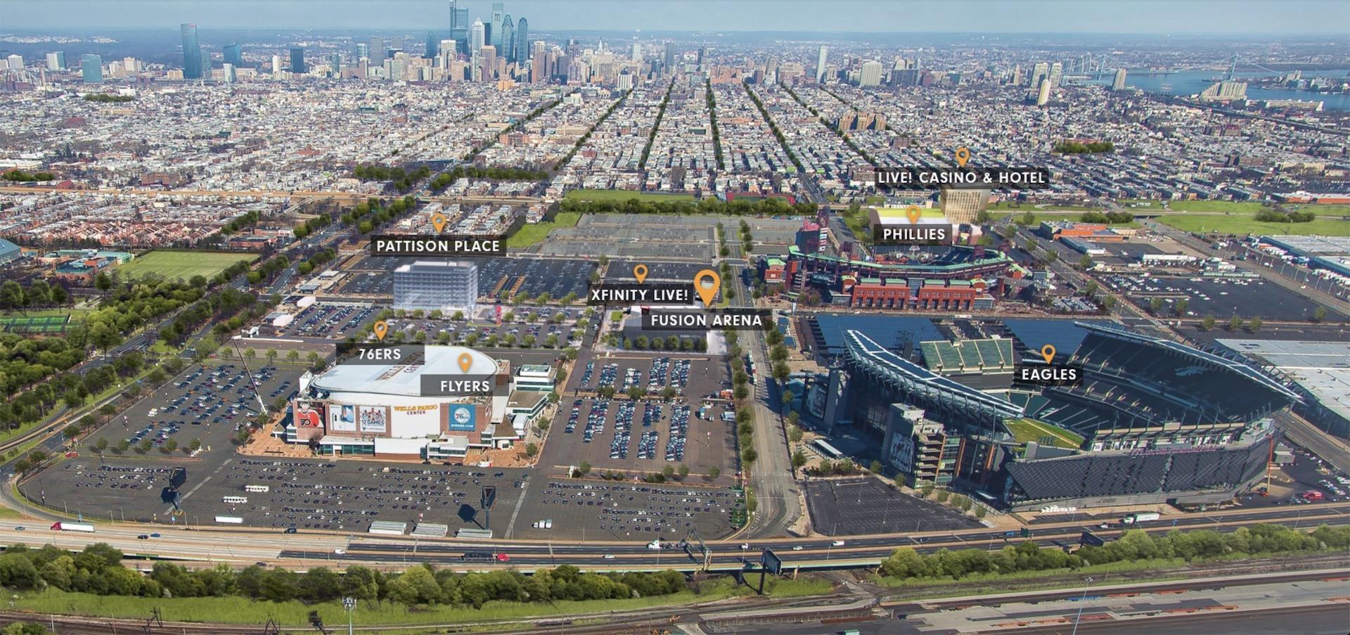 Plánovaná Fusion Arena se bude nacházet v těsné blízkosti dalších sportovních stadionů