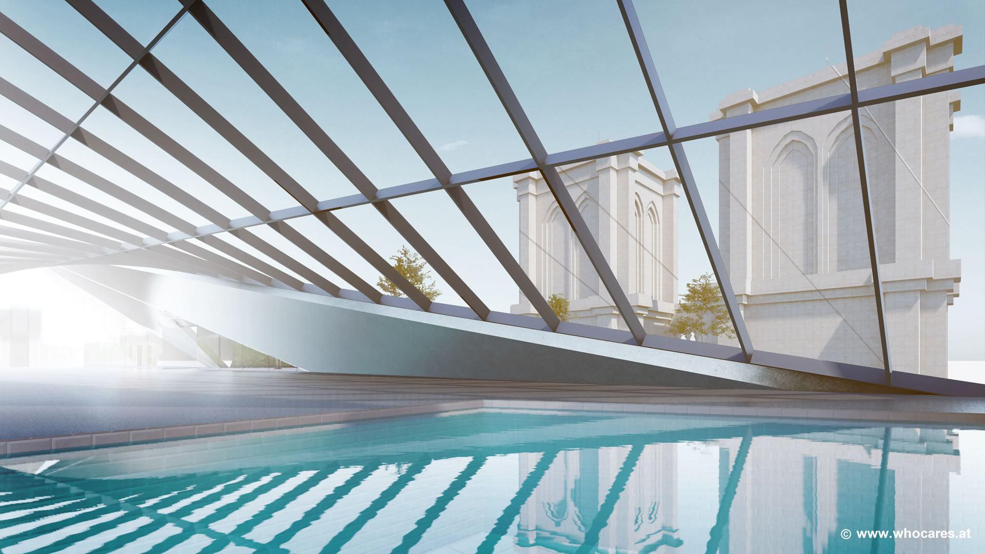 Součástí apartmánu je i velký krytý bazén