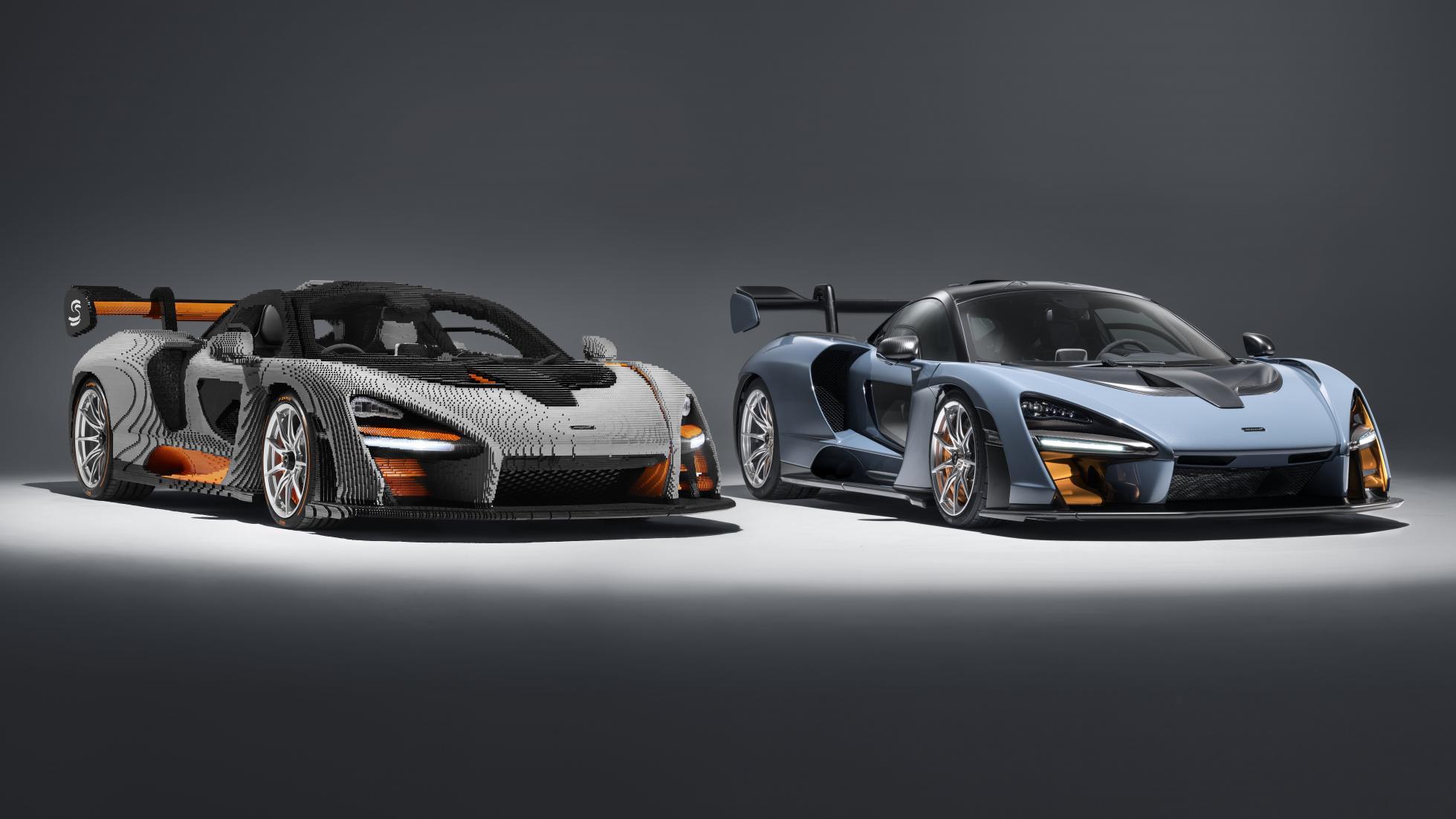 Vlevo LEGO model, vpravo originál McLaren Senna