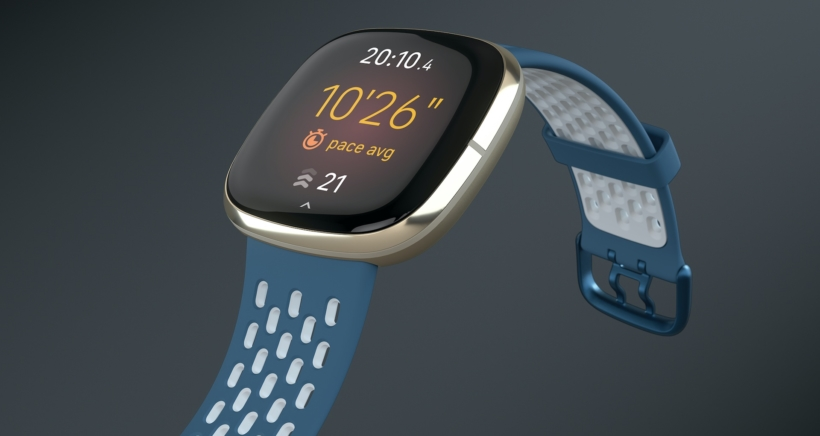 Product laydown photography for Fitbit Sense.